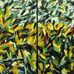 "Yellow Garden 1982, oil on canvas 64"" x 104"""